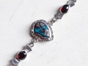 Turquoise and Garnet Bracelet
