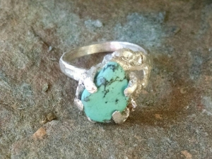 Turquoise and Fine Silver Ring