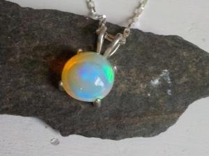 Ethiopian Opal Cabochon Fine Silver Necklace